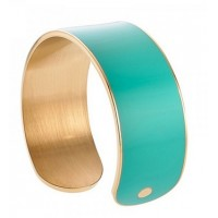 A particular open cuff bracelet with gold plated & enamel in mint color.
