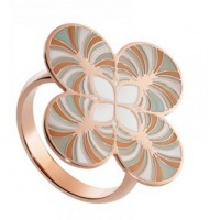 A fantastic large cross ring with a unique enamel pattern and a perforated smaller cross design in the middle.