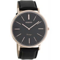 OOZOO Timepieces Vintage Rose Gold Black Leather Strap C7319