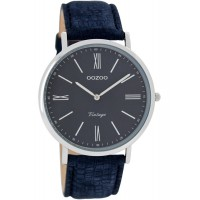 OOZOO Timepieces Vintage Blue Leather Strap C7356