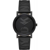 DKNY Women SoHo Three-hand Black Leather Watch