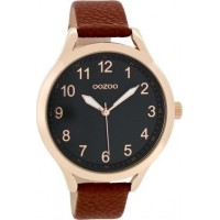OOZOO TIMEPEACE unisex watch with brown leather strap