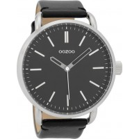 OOZOO TIMEPEACES black leather strap watch